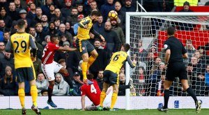 Arsenal's Olivier Giroud scores their first goal
